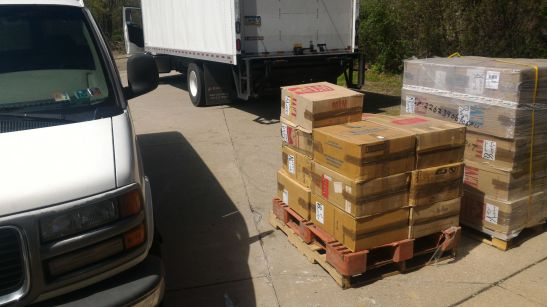 Six large one-ton pallets were delivered this morning, the 1MM Library is finally here, wal-hamdulillaah!